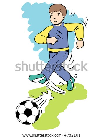 illustration of young football player...