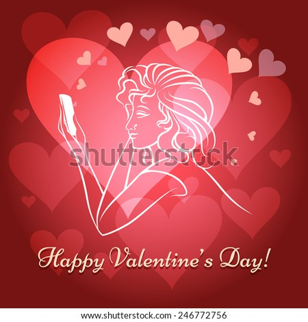 Illustration of young girl with mobile phone sending love messages against shining hearts and wording Happy Valentine's Day - stock photo