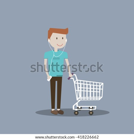 Illustration of young man guy pushing an empty shopping cart  - stock photo