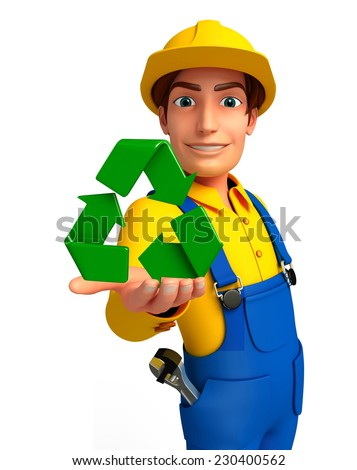 Illustration of young mechanic with recycle icon - stock photo
