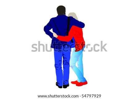 illustration of young people embraced each other - stock photo