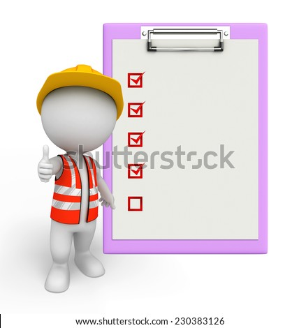 Illustration of young worker with notepad