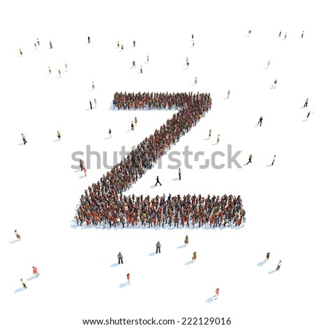 illustration of Z letter with people - stock photo