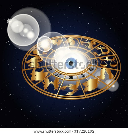 illustration of zodiac signs in the space around the eyes in the golden design, drawings and symbols correspond to the names on the sign horoscope. - stock photo
