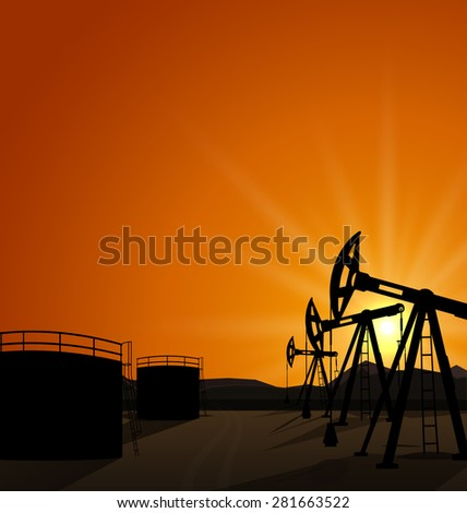 Illustration oil pump jack for petroleum and reserve tanks on sunrise background - raster - stock photo