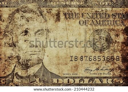 illustration old grunge portrait of Abraham Lincoln, five dollar bill - stock photo