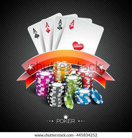 Illustration on a casino theme with color playing chips and poker cards on dark background. JPG version. - stock photo