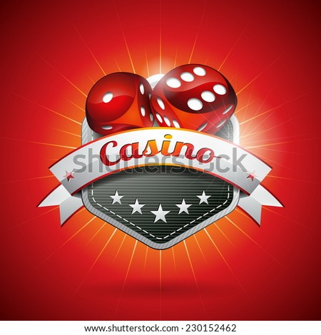 Illustration on a casino theme with dices and ribbon. JPG version.  - stock photo