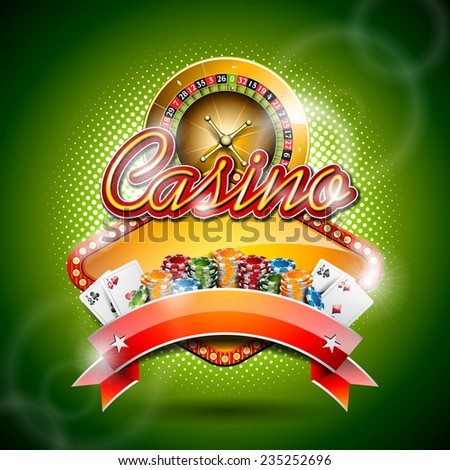 Illustration on a casino theme with gambling elements on red background. JPG version.  - stock photo