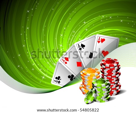 illustration on a casino theme with playing cards and poker chips (raster format) - stock photo