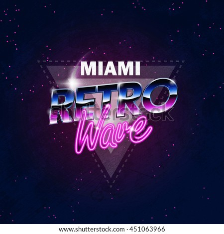 Illustration on a theme   Miami retro wave  background  sticker. Illustration On Theme Miami Retro Wave Stock Illustration