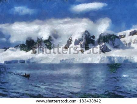 Illustration on antarctic land - stock photo