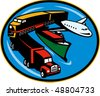 illustration on land, sea, and air freight, transportation and travel. - stock vector