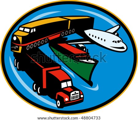 illustration on land, sea, and air freight, transportation and travel.
