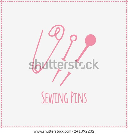 illustration on sewing theme. Sewing pins. Hand-drawn object isolated on background. Pictogram - stock photo