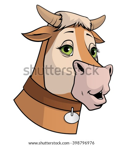 Illustration on white background of a cow head - stock photo