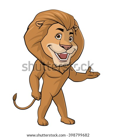 Illustration on white background of a Lion welcome - stock photo