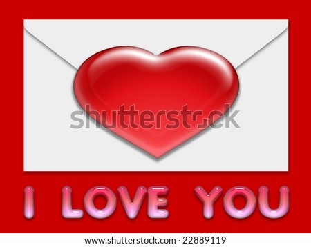 illustration or background with hearts on the envelope written i love you - stock photo