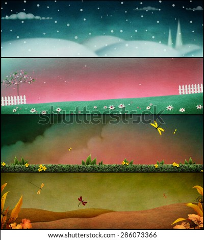 Illustration or poster or card with backgrounds season - stock photo