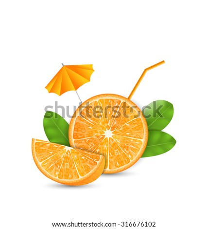Illustration Orange as a Drink with a Straw and Umbrella, Ripe Citrus - raster - stock photo