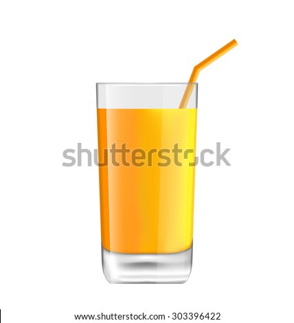 Illustration Orange Juice in Glass with Bend Straw, Isolated on White Background, Realistic Beverage - raster