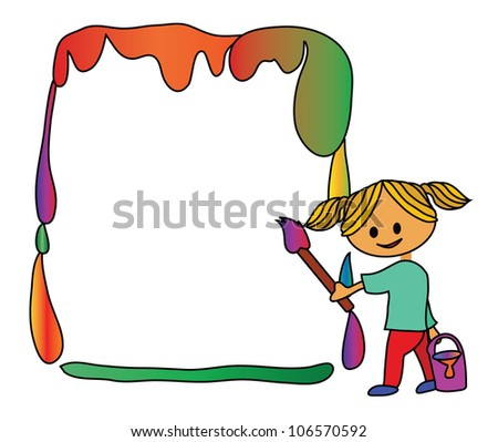 Illustration - Painting and empty blank. - stock photo