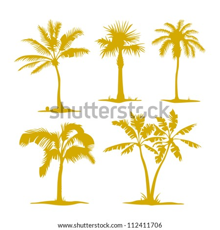 Illustration palm contours isolated on white. Illustration set