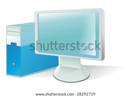 Illustration personal computer - monitor and system block
