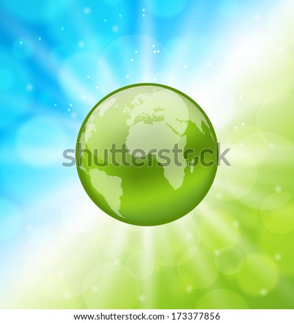 Illustration planet earth on glowing abstract background - raster - stock photo