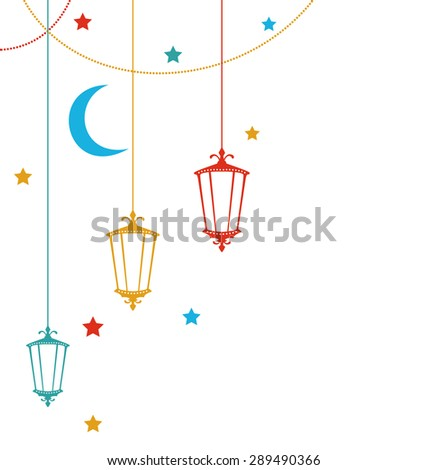 Illustration Ramadan Kareem Background with Colorful Lamps, Crescents and Stars - raster - stock photo