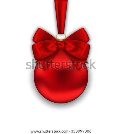Illustration Realistic Christmas Red Ball with Satin Bow Ribbon Isolated on White Background, Merry Christmas Wishes - raster