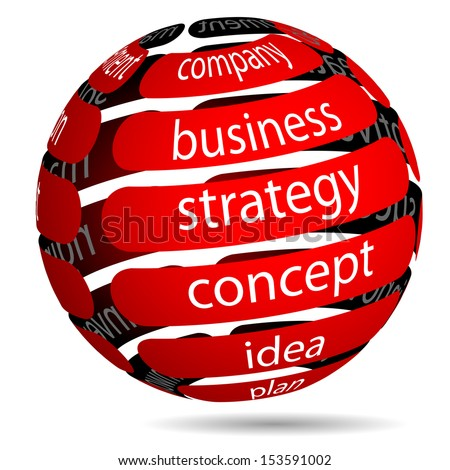 Illustration Red Business Ball with Inscription on White Background. - stock photo