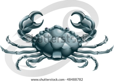 Illustration representing Cancer the crab star or birth sign. Includes the symbol or icon in the background