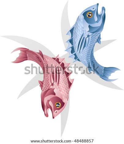 Illustration representing Pisces the fish star or birth sign. Includes the symbol or icon in the background - stock photo