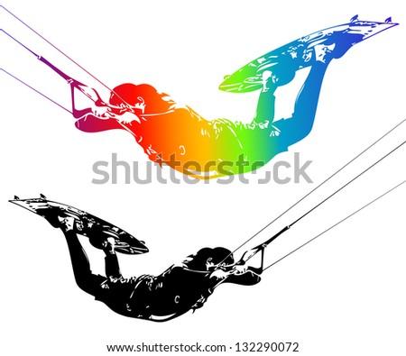 Illustration rider isolated on white background. - stock photo