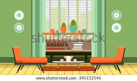 illustration room home furniture and interior decor room decoration - stock photo