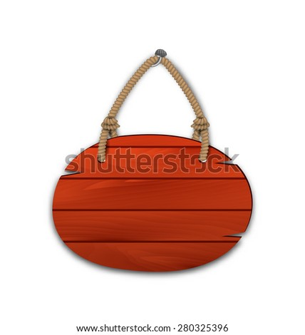 Illustration round wooden billboard with rope hanging on a nail - raster - stock photo