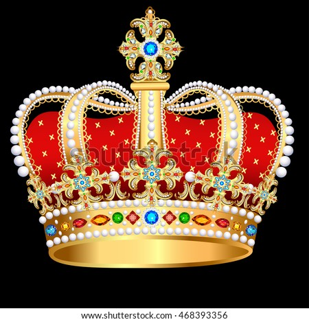 Illustration royal  gold crown with precious stones and jewelry
