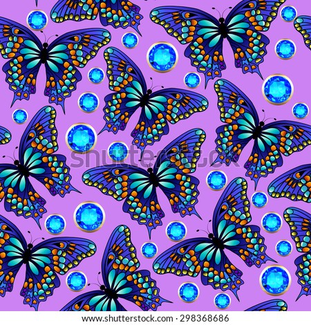 illustration seamless background with butterflies and jewels - stock photo