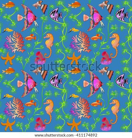 illustration seamless pattern marine life with colorful fish, corals, algae - stock photo