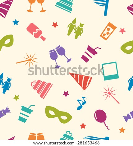 Illustration Seamless Pattern of Party Colorful Icons, Wallpaper for Holidays - raster - stock photo