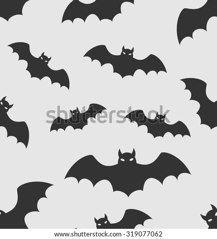 Illustration Seamless Pattern with Black Silhouettes of Bats, Halloween Wallpaper - raster