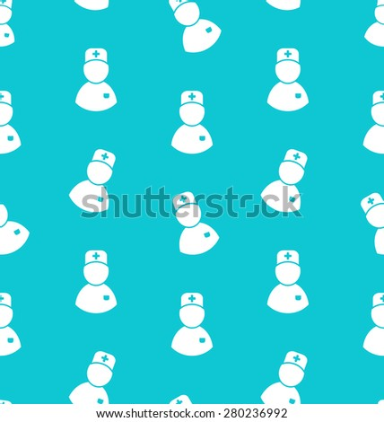 Illustration Seamless Pattern with Icons of Medical Doctor, Medicine Background - raster - stock photo
