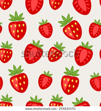 Illustration Seamless Texture of Ripe Strawberry, Natural Background - raster - stock photo