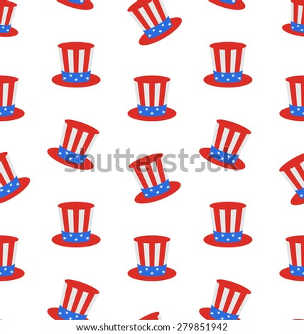 Illustration Seamless Texture with Uncle Sam's Top Hat for American Holidays - raster - stock photo