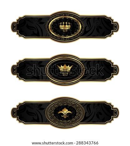 Illustration set black-gold decorative frames - raster - stock photo