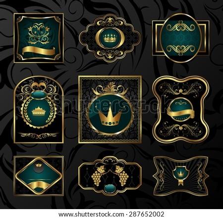 Illustration set black gold-framed labels - raster - stock photo