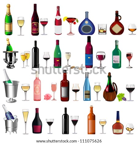 illustration set bottle wine and goblet on white