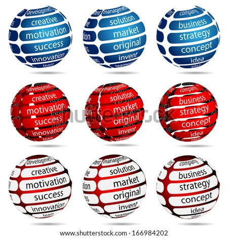 Illustration Set Business Ball with Inscription on White Background.  - stock photo