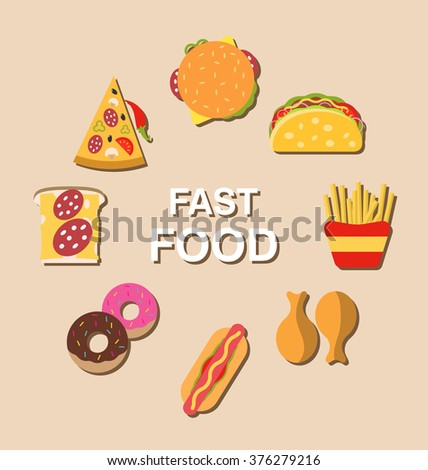 Illustration Set Fast Food Flat Icons with Shadows - raster